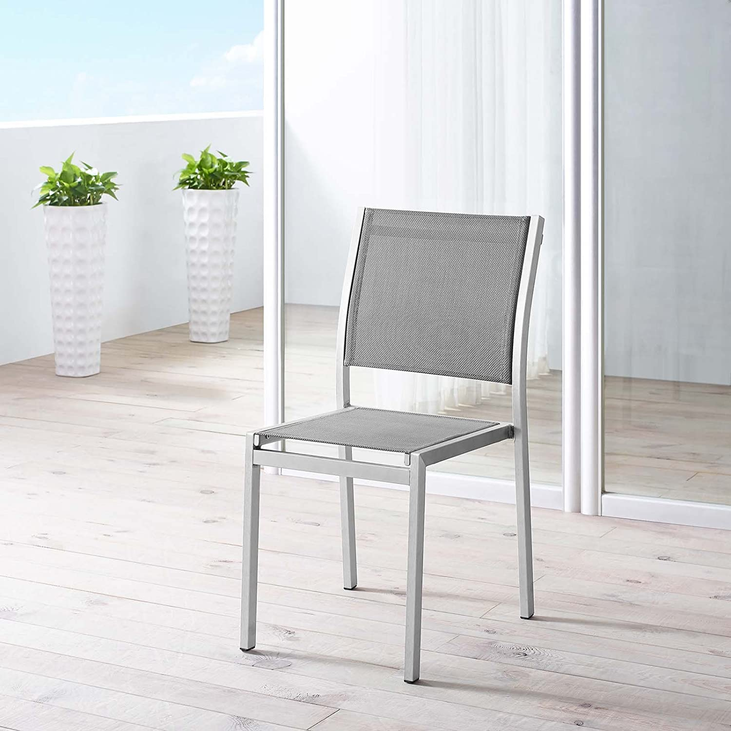 Modway EEI-2259-SLV-GRY Shore Outdoor Patio Aluminum Side Chair in Silver Gray, One Dining