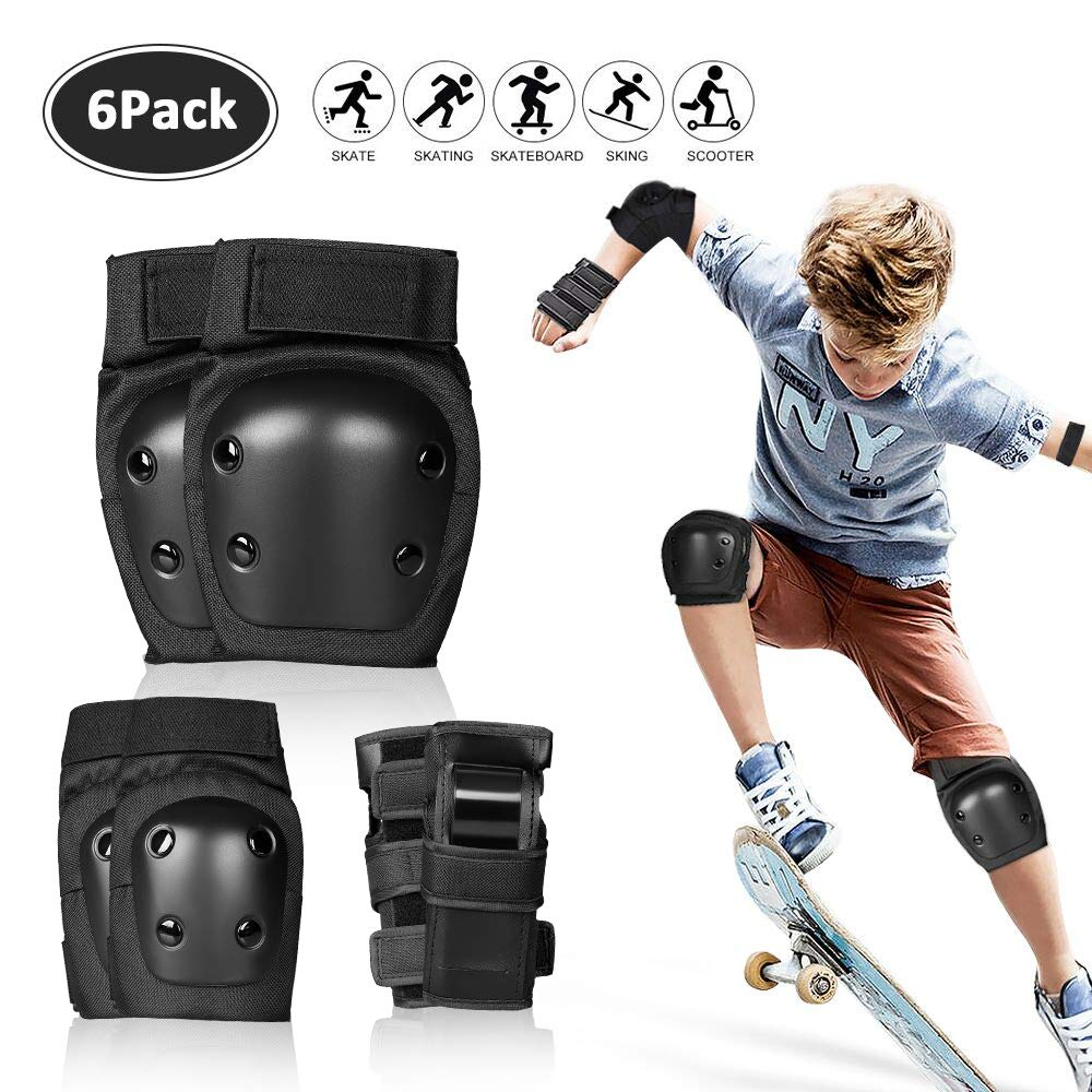 SPORUS Protective Gear for Adult and Kids with Elbow Pads and Wrist Guards, Knee Pads for Skating Cycling Black Storage Bag Included