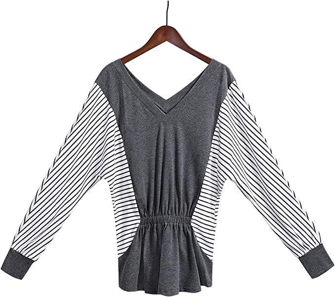 Amazon.com: OUGES Blusa de manga larga con volantes y bloque ...