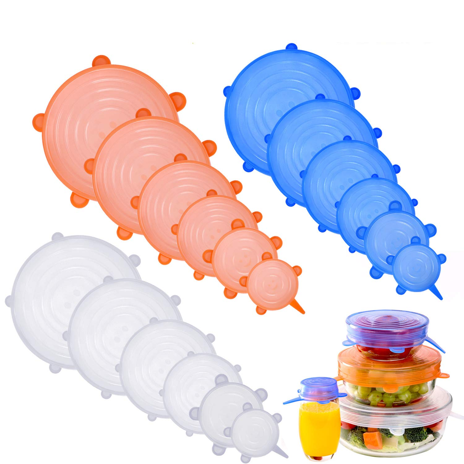 NEWBEA Silicone Stretch Lids,18-Pack of Various Sizes to Fit Various Sizes and Shapes of Containers,Reusable, Durable and Expandable Food Covers As Seen On TV,Keeping Food Fresh