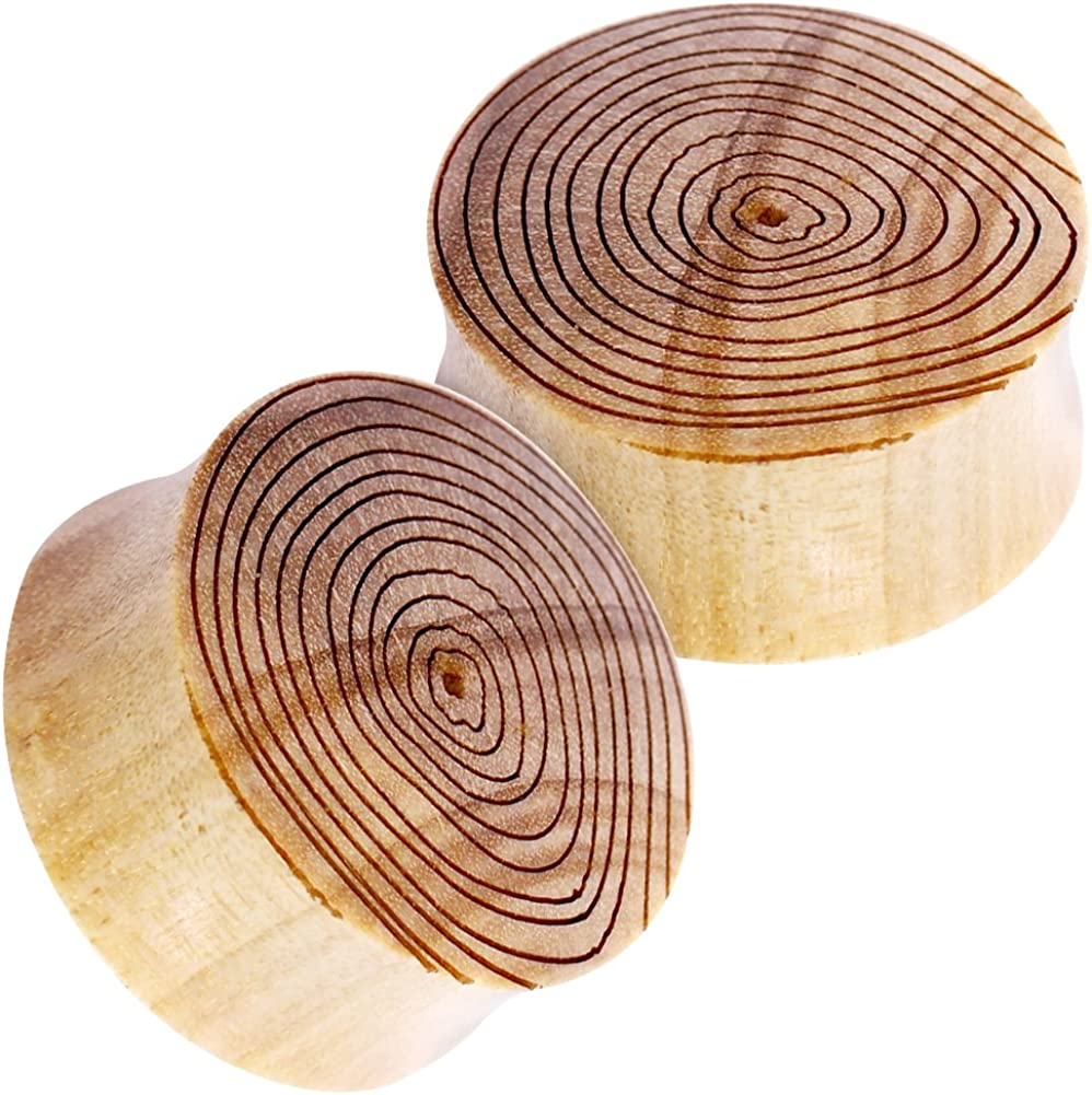 25mm Double Flared Crocodile Wood Plugs with Engraved Wood Grain H07-075 Pair of 1 inch