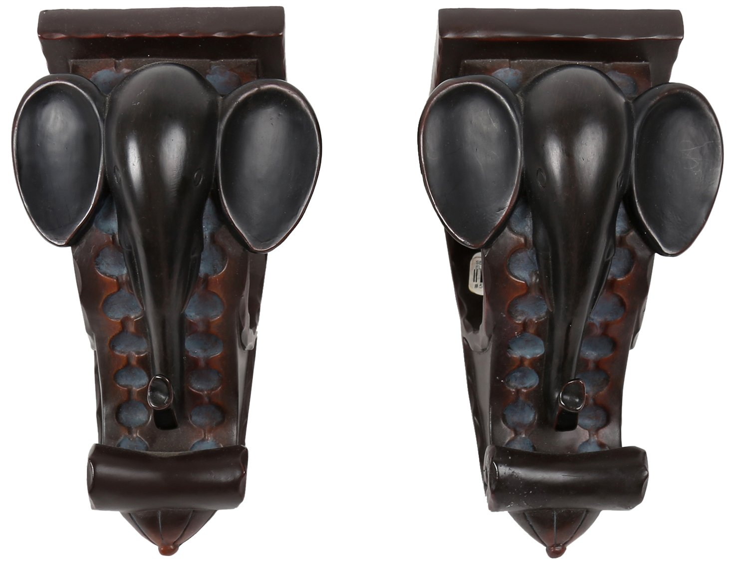 Truu Design Elephant Curtain Rod Holder, Set of 2, 6 inches, Brown