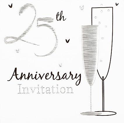 Invitación Aniversario De Boda Plata 6p Amazon Com Mx