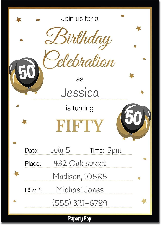 Amazon.com: 50th Birthday Invitations with Envelopes (30 Count) - 50 ...