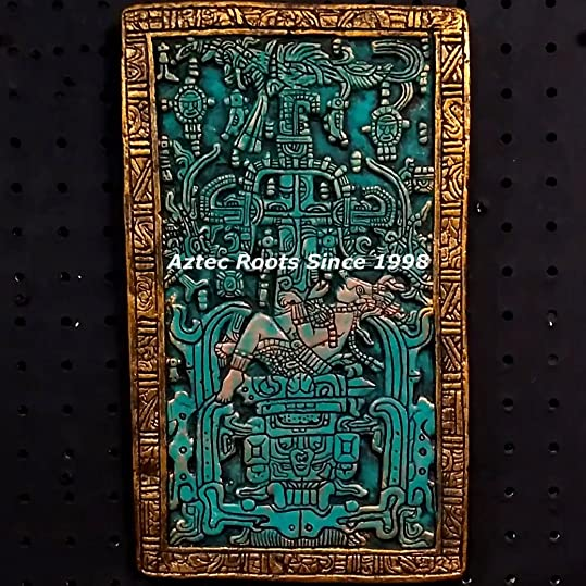 13″ Mayan King Pacal Astronaut Plaque Maya Peru Inca Sculpture Statue Aztec Pottery Art Hand-Painted From Mexico 057