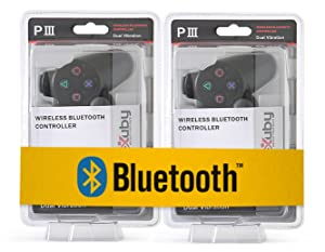 2-Pack eXuby Jet Black Bluetooth Wireless Controllers Compatible With Sony PS3 And Playstation 3 (6-Axis And Dual-Vibration)