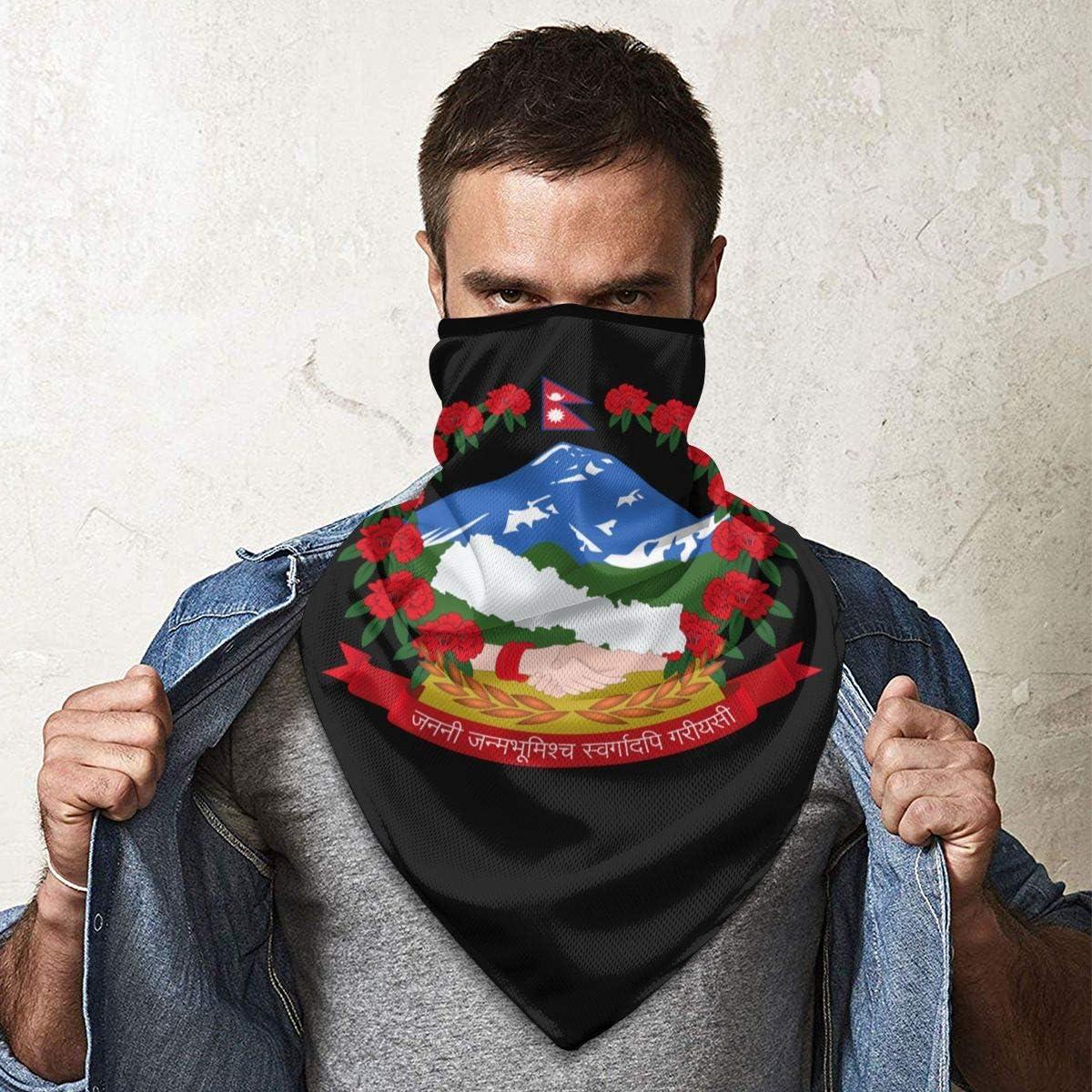 National Emblem of Nepal Neck Gaiter Warmer Windproof Face Mask Scarf Outdoor Sports Mask