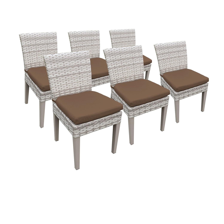 Amazon com tk classics fairmont 6 piece armless dining chairs cocoa garden outdoor