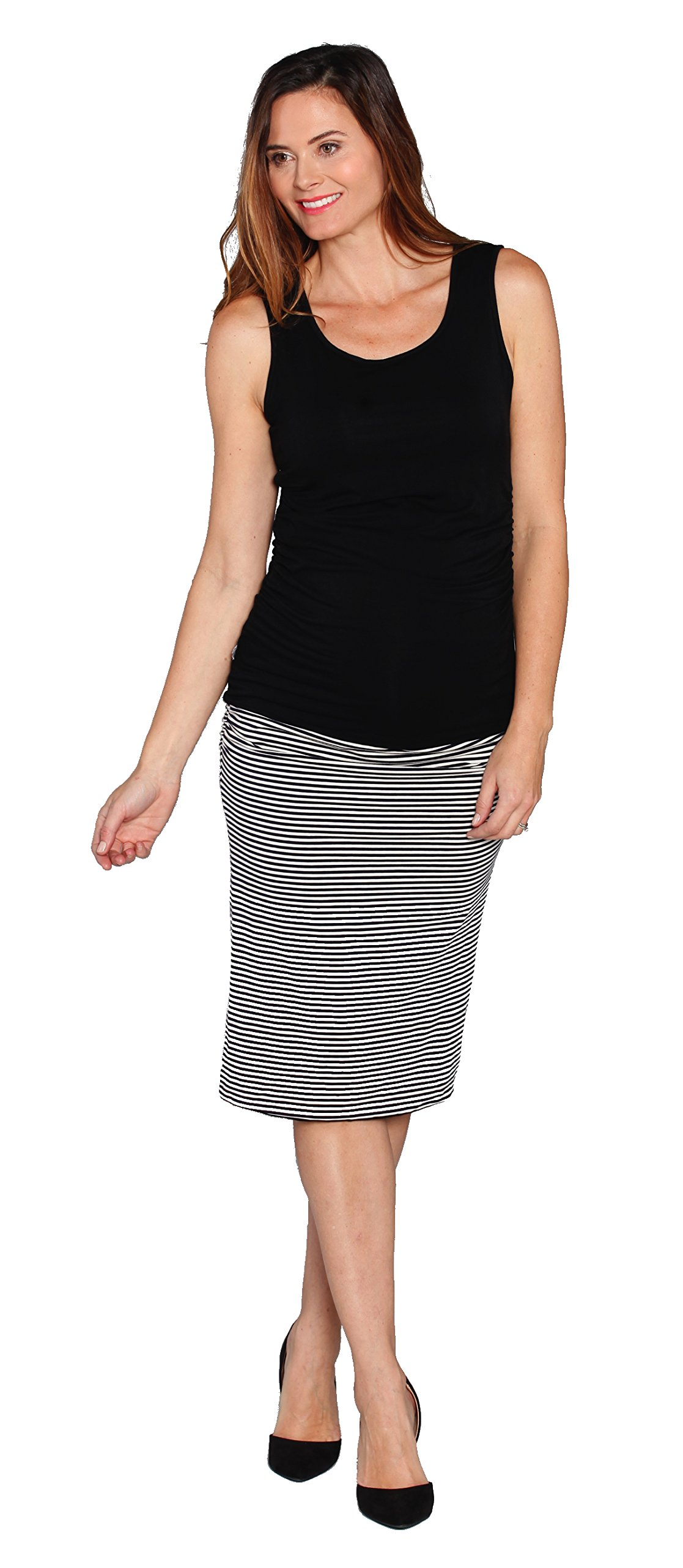 Angel Maternity Reversible Maternity Skirt: Black Skirt or Black and White Striped Skirt Stylish Fitted Maternity Skirt - S