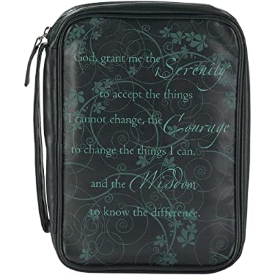 Black Serenity Prayer 7 x 10 inch Leather Like Vinyl Bible Cover Case with Handle Medium
