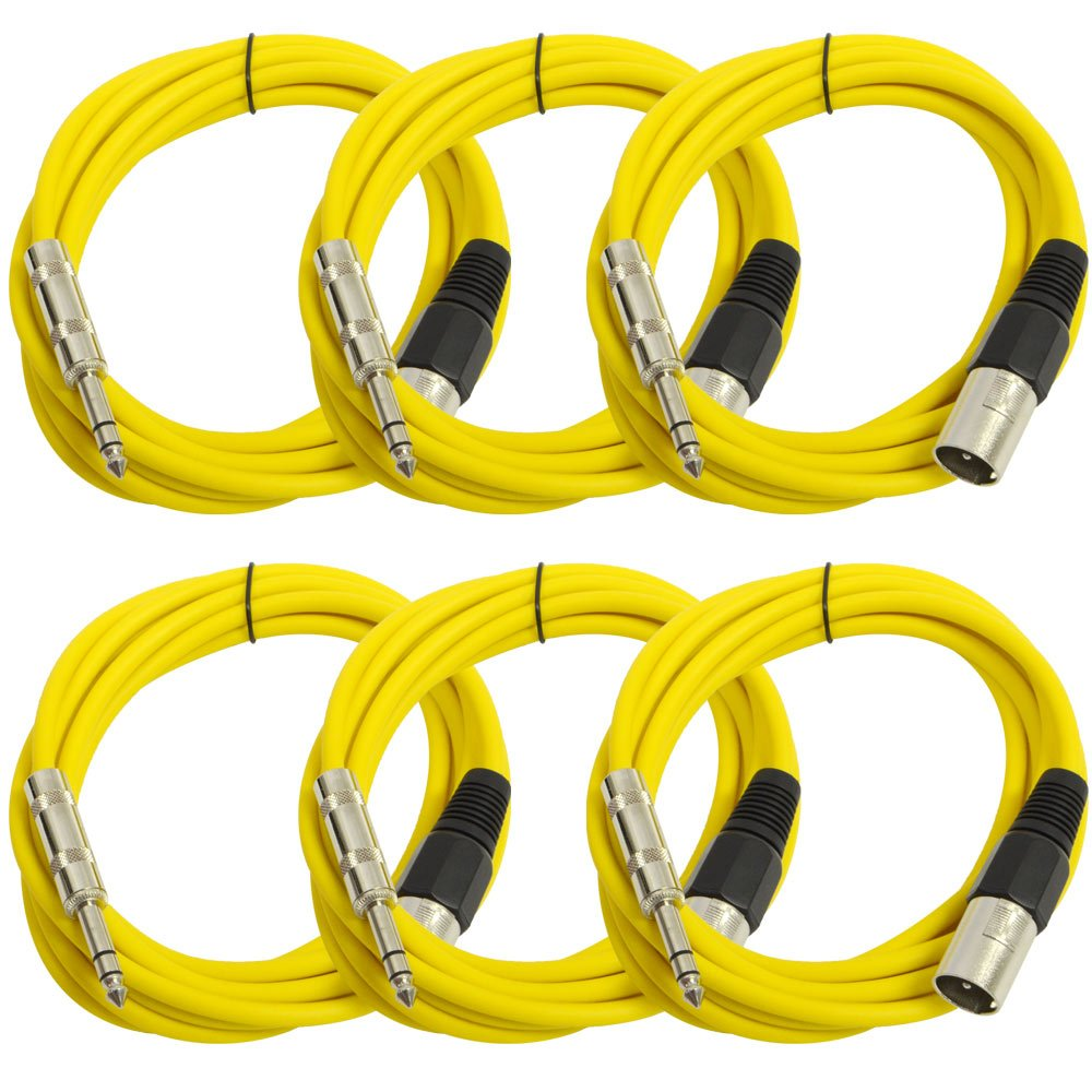 SEISMIC AUDIO - SATRXL-M10-6 Pack of Yellow 10' XLR Male to 1/4'' TRS Patch Cables
