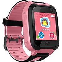 Niños Smart Watch Phone, GPS Tracker Smartwatch para niños de 3-12 años Niñas con cámara SOS Ranura para tarjeta SIM Juego de pantalla táctil Smartwatch Childrens Gift (Rosa)