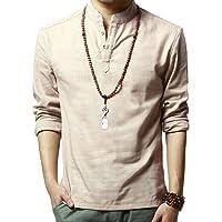 WSLCN Homme Henley Shirt en Lin Shirt Décontracté Rollant Manches Demi Patte de Boutonnage Chiné Col Mao T-Shirt Manches Longues