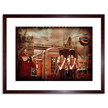 amazon red london collage gift new framed wall art print アート