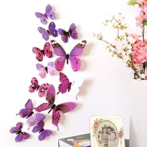 Yrmup 12 PCS 3D Removable Sticker Mural Stickers Butterfly Wall Decal Sticker DIY 3 Sizes Butterfly Wall Stickers Decor for Home and Room Decoration Kids Girls Teens (Purple)
