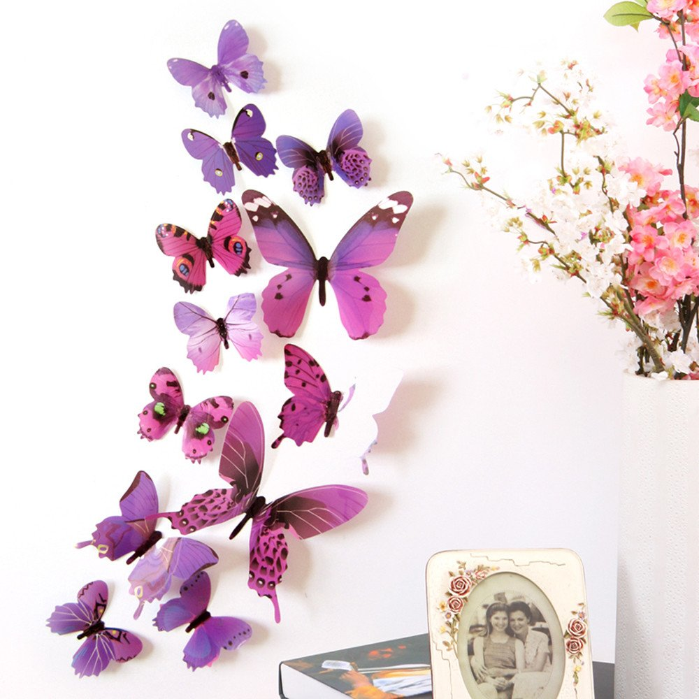 Yeefant 12pcs Wall Sticker Butterfly DIY 3D Wall Mirror Art Decal Stickers for Home Tile Decor Living Room Kid's Bedroom Car Decorations, PVC Purple