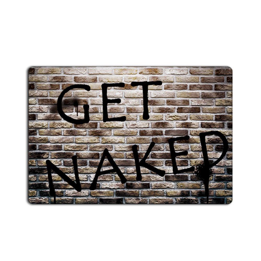 EZON-CH Modern Non Slip Get Naked On Bricks Wall Home Bathroom Bath Shower Bedroom Mat Toilet Floor Door Mat Rug Carpet Pad Doormat(16X24IN)