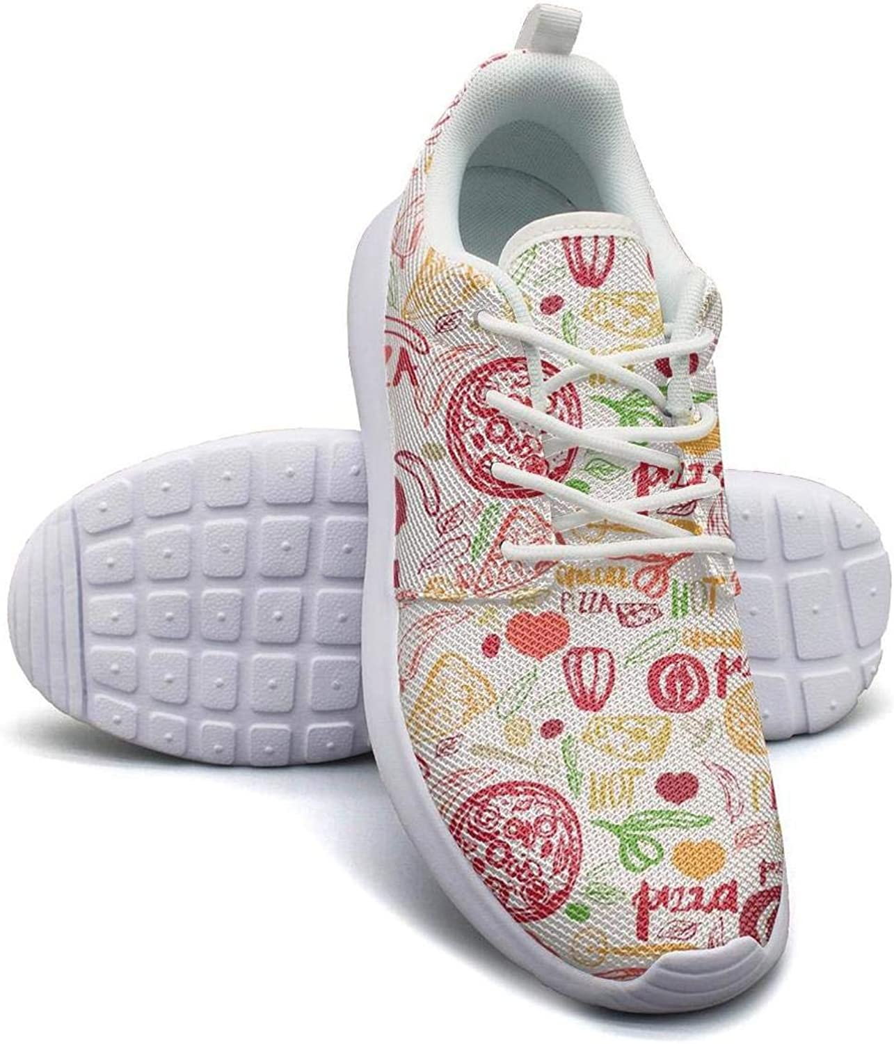 Pink Pizza Wave Basketball Sneakers for Men Print Lightweight Running Shoes