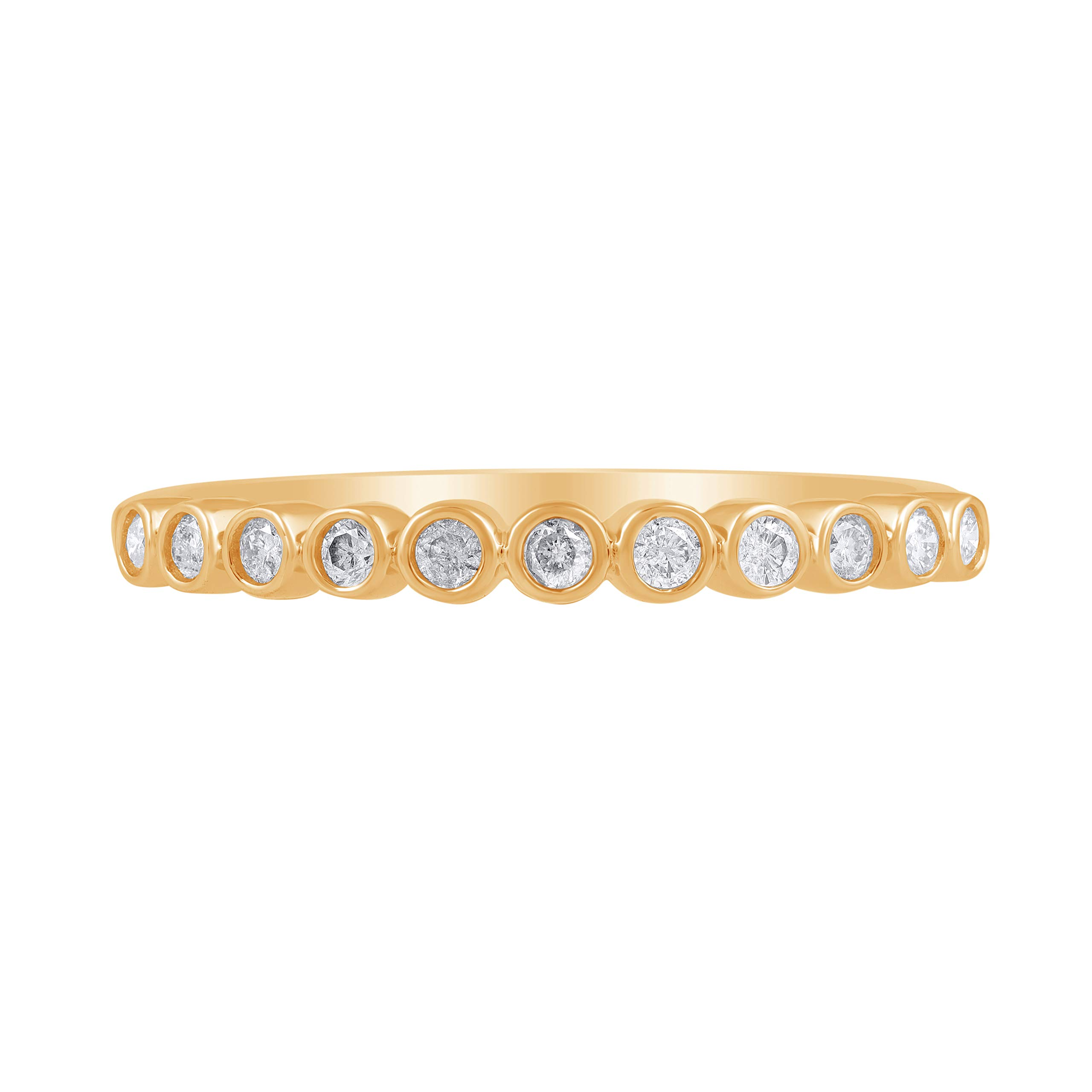 1/5 Carat Natural Diamond Stackable Band 14K Yellow Gold (H-I Color, I2 Clarity) Diamond Band for Women Diamond Jewelry Gifts for Women, US Size 8 by TJD