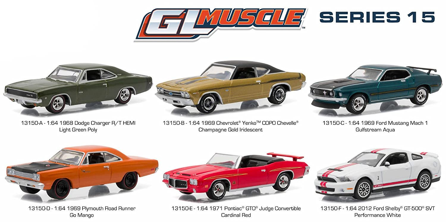 Greenlight Muscle Release 15 6pc Diecast Car Set 1 64 1969 Ford Mustang Mach Gulfstream Aqua By 13150 Toys Games