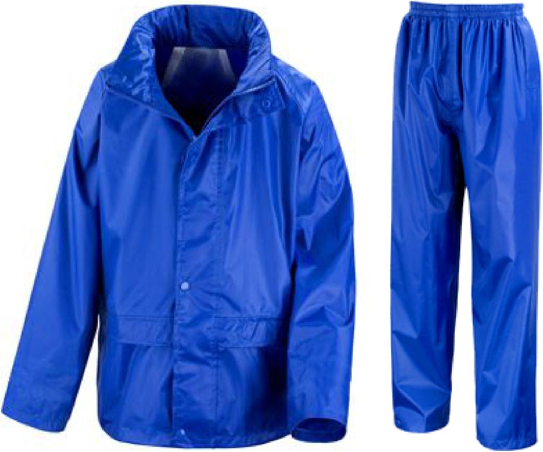 Navy Blue or Royal Blue Childs Childrens Boys Girls Kids Waterproof Jacket /& Trousers Suit Set in Black