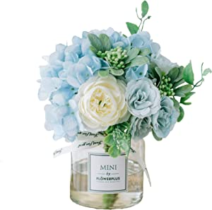 Artificial Flowers in Vase, Fake Rose Flowers in Glass Vase,Faux Flower Arrangements for Home Decor