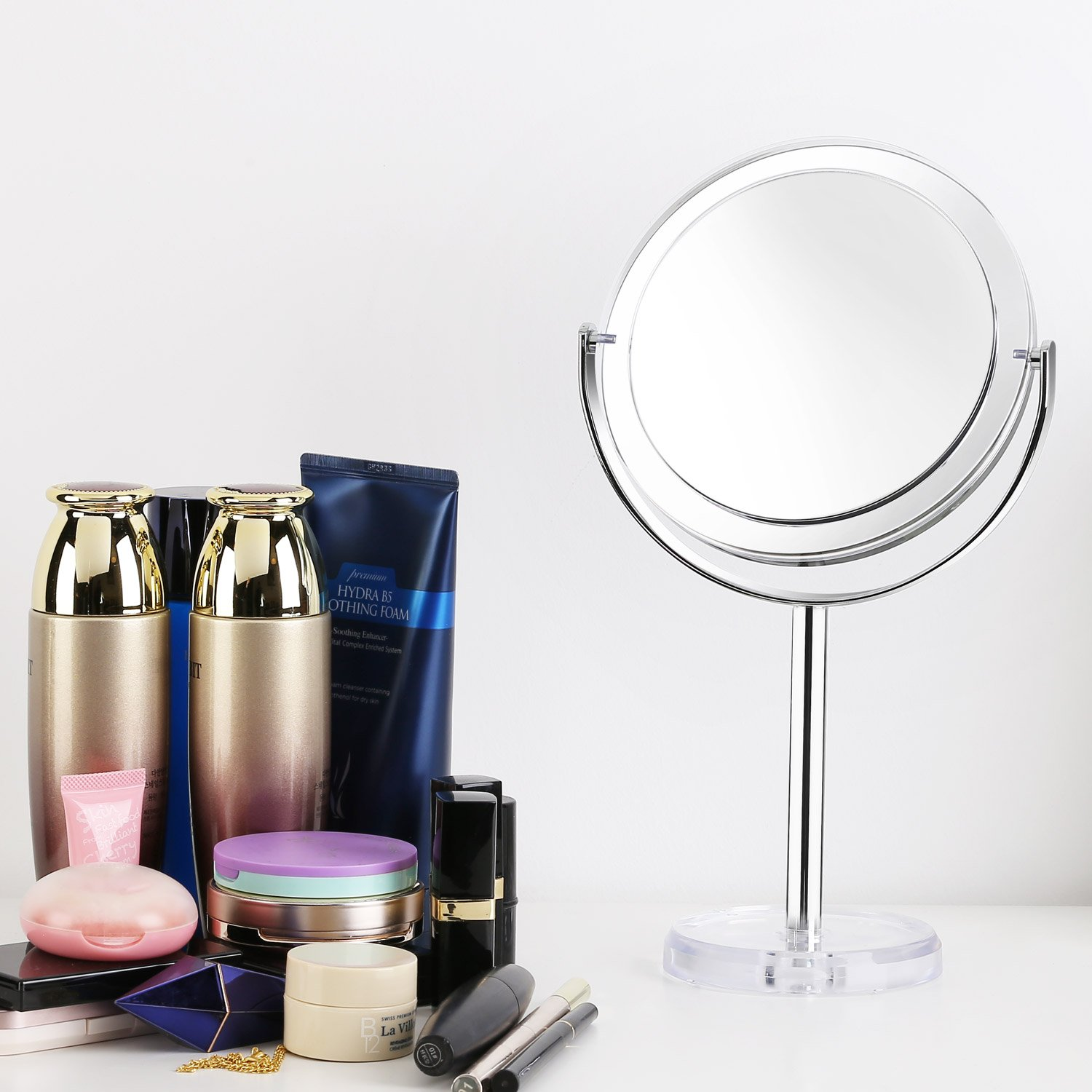 Beautifive Makeup Mirror with 1x/7x, Double Sided Vanity Mirror, 6\'\' Swivel Round Mirror with 360° Rotation, Tabletop Magnifying Mirror, Bathroom Mirror for Women and Men, Retro Style