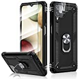 HATOSHI [5 Items] Samsung Galaxy A12 Case with 2 Pack Tempered Glass Screen Protector and 2 Pack Camera Lens Protector, [5X M