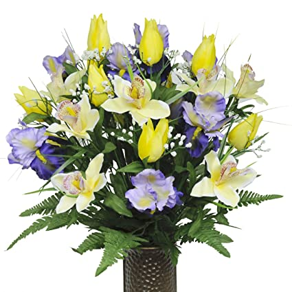 Amazon Yellow Tulips And Purple Iris With Stay In The Vase