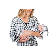 Matching Delivery Robe and Swaddle Blanket Set Mom and Baby (S/M 2-10, Black Gingham)