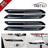 Fabtec Premium Quality Black Car Bumper Protector Guard with Double Chrome Strip (4Pcs.) for Ford Figo Aspire