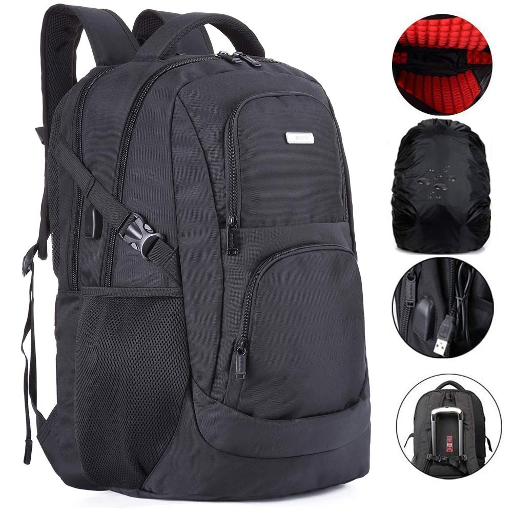 Large Travel Laptop Backpack Water Resistent and TSA Friendly 18 Inches Computer Back Pack with USB Charge Port Shockproof for Men and College School Students