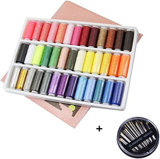 Caja de hilos para coser (39 colores), de poliéster, duraderos + ...
