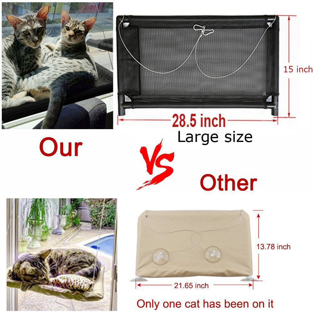 GRE1BEE Cat Window Perch Hammock Seat Cat Bed Kitty Cot Sunny Furniture Cats Perches Two Sill Mounted Animal Pets Kitten Beds Upgraded Version 4 Big Suction Cups Holds up 60lb by GRE1BEE (Image #6)