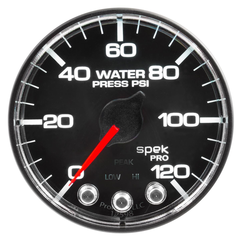 Spek-Pro 2 1//16 Auto Meter P345318 Gauge Blk//Chrm 120Psi Water Press Stepper Motor W//Peak /& Warn 2 1//16