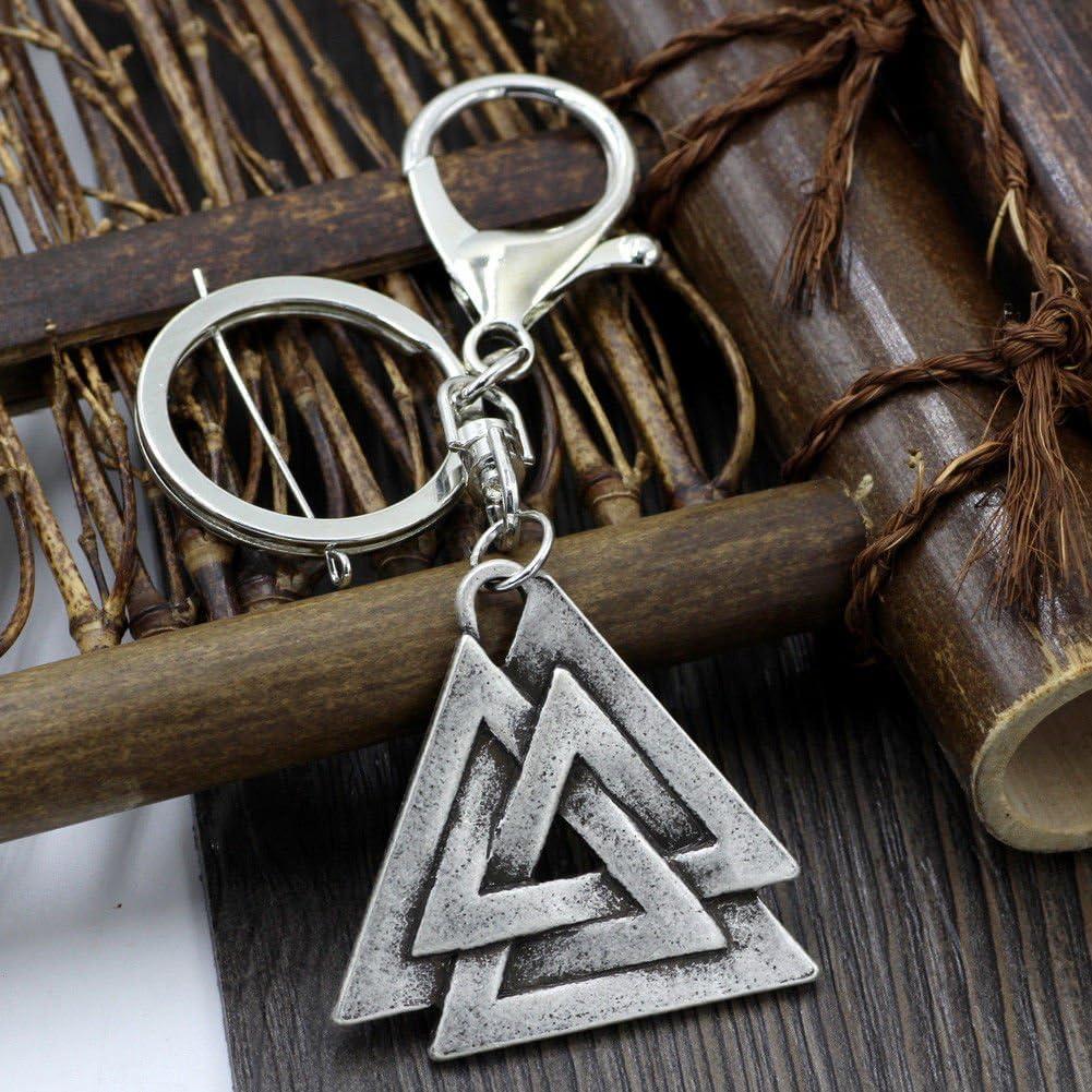 Schlüsselanhänger Aus Metall Valknut Skand Wikinger Symbol Vikings Lederbeutel Odin Valknut Geschenk Thor Mjölnir Runen Bürobedarf Schreibwaren