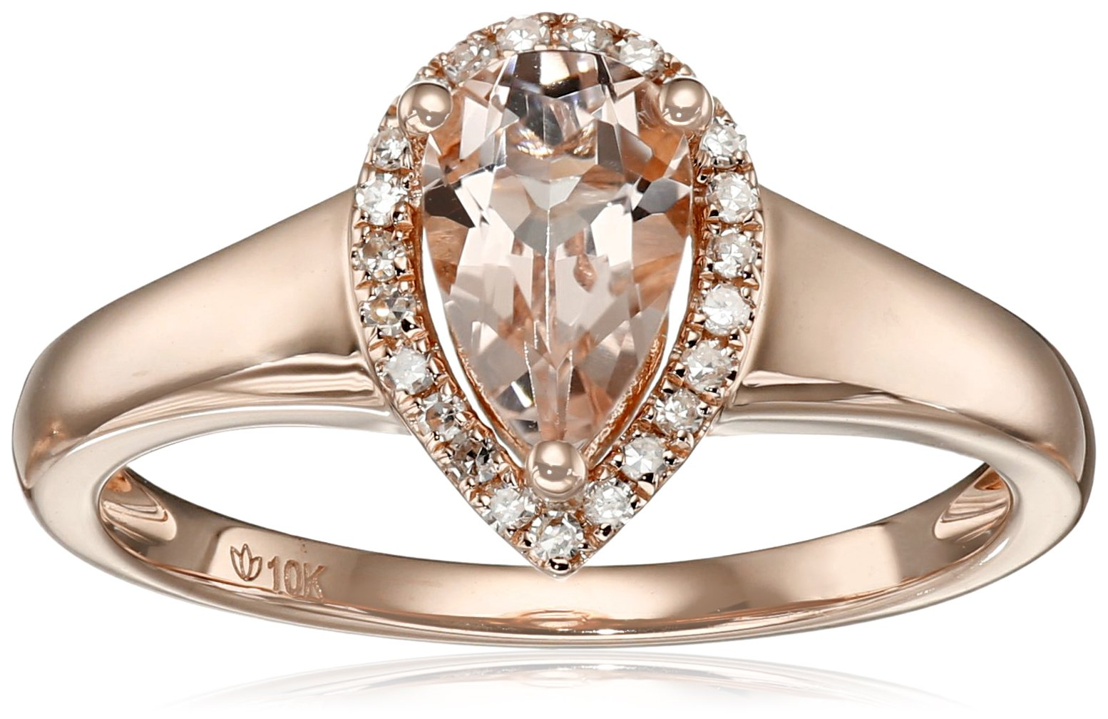 10k Rose Gold Morganite and Diamond Princess Diana Pear Halo Ring (1/10cttw, H-I Color, I1-I2 Clarity), Size 7