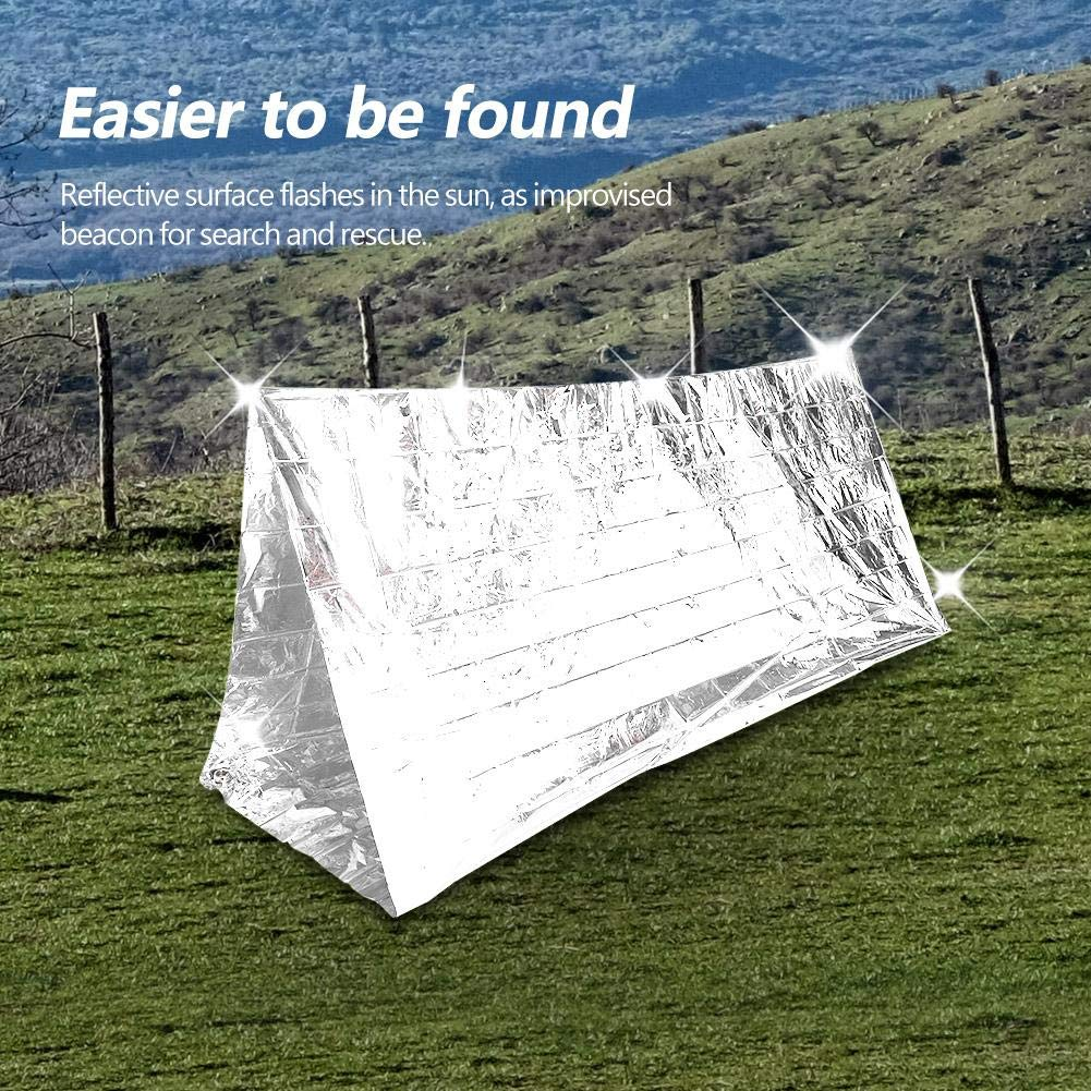 Cold Storm and Hypothermia Alomejor Outdoor Emergency Shelter Reflective Tent Field Outdoor Survival Camping Shelter Against Wind Rain