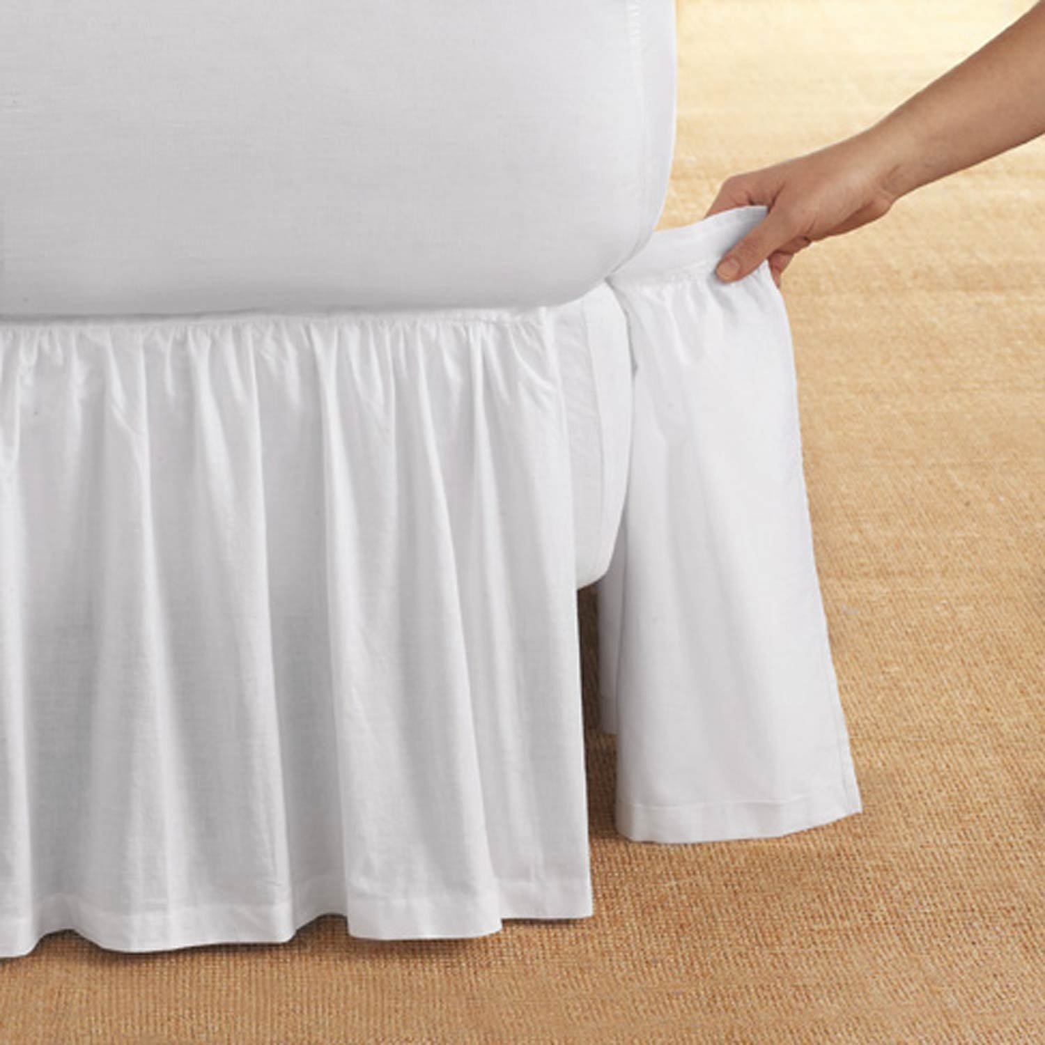 D. Kwitman & Son Cotton Gathered Detachable 18'' Drop Bed Skirt, Queen, White by D. Kwitman & Son