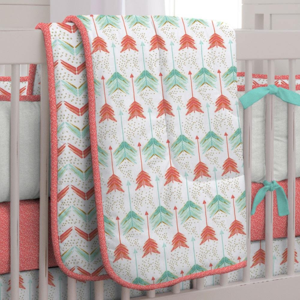 Carousel Designs Coral and Teal Arrow Crib Comforter