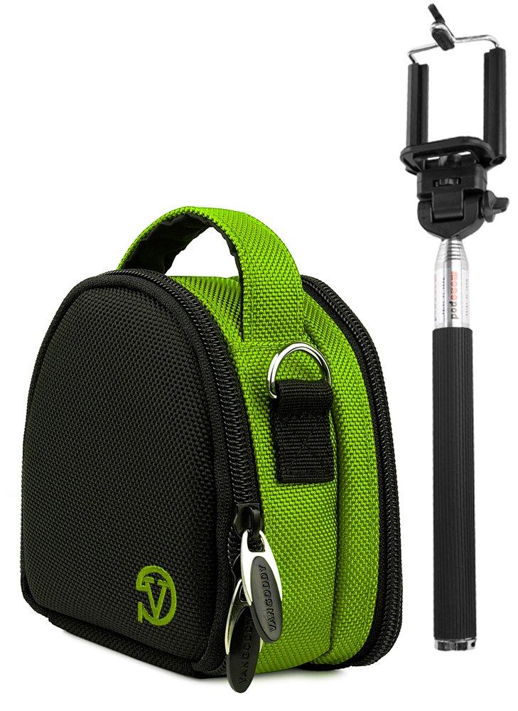 保護用ナイロンシェル旅行携帯ケース&自撮りWand for Yiスポーツアクションカメラ  グリーン B079C6KQG9