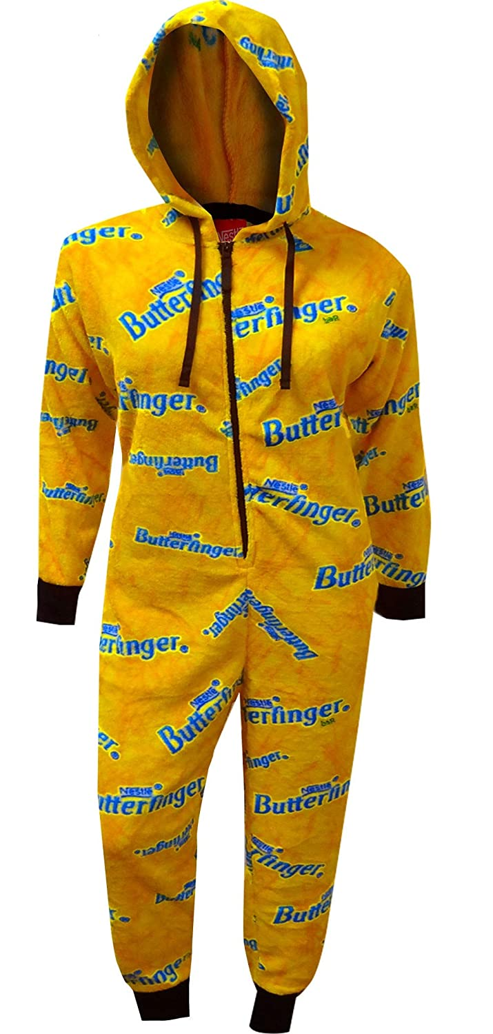d8c01d52b6c2 Amazon.com  Nestle Women s Butterfinger Candy Plush One Piece Pajamas  Bright Yellow  Clothing