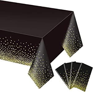 4 Pack Black and Gold Tablecloth for Rectangle Tables, Plastic Disposable Dot Confetti Party Table Covers for Birthday for Thanksgiving Christmas Wedding, Anniversary, 54