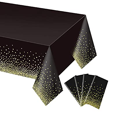 Aneco 3 Pack 50th Birthday Tablecloth Table Cloth Cover Black Gold Party Happy Birthday Disposable Tablecloth 54 x 108 Inches for Party Birthdays Weddings