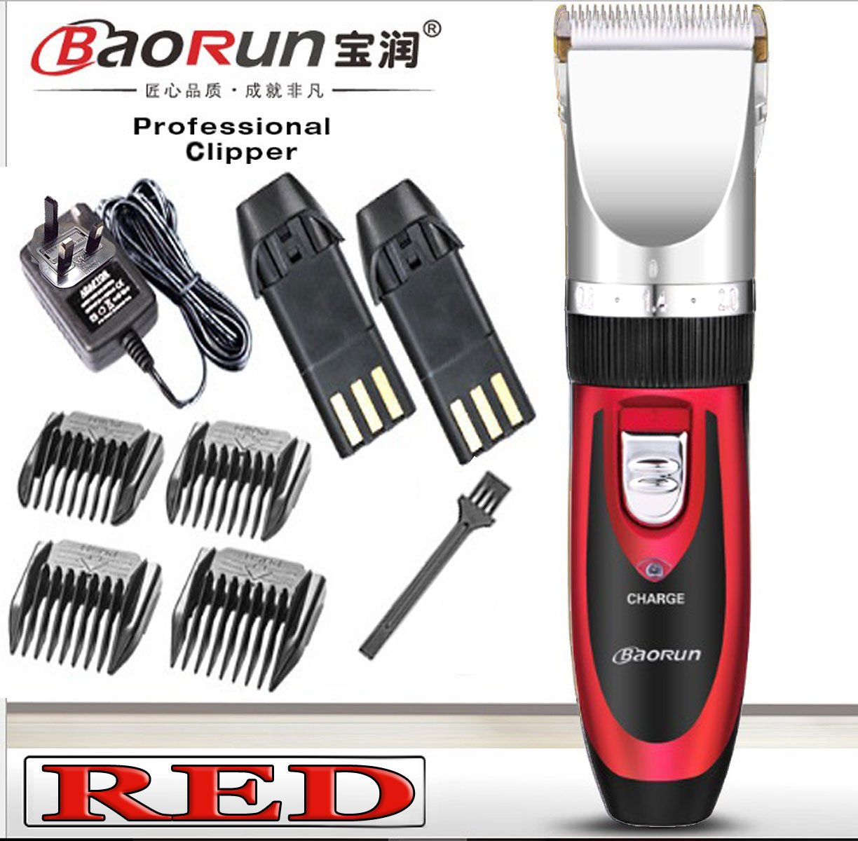quiet hair clippers cordless Super Quiet Cordless battery Electric Hair Cutting Machine RECHARGEABLE HAIR CLIPPER TRIMMER home Barber Clippers Set (RED) EASY LINK