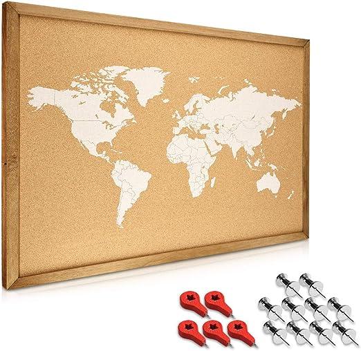 Navaris tablero para notas de corcho - Tablero con marco de madera de 70 x 50 CM - Planificador mapamundi con 15 chinchetas y set de montaje: Amazon.es: Oficina y papelería