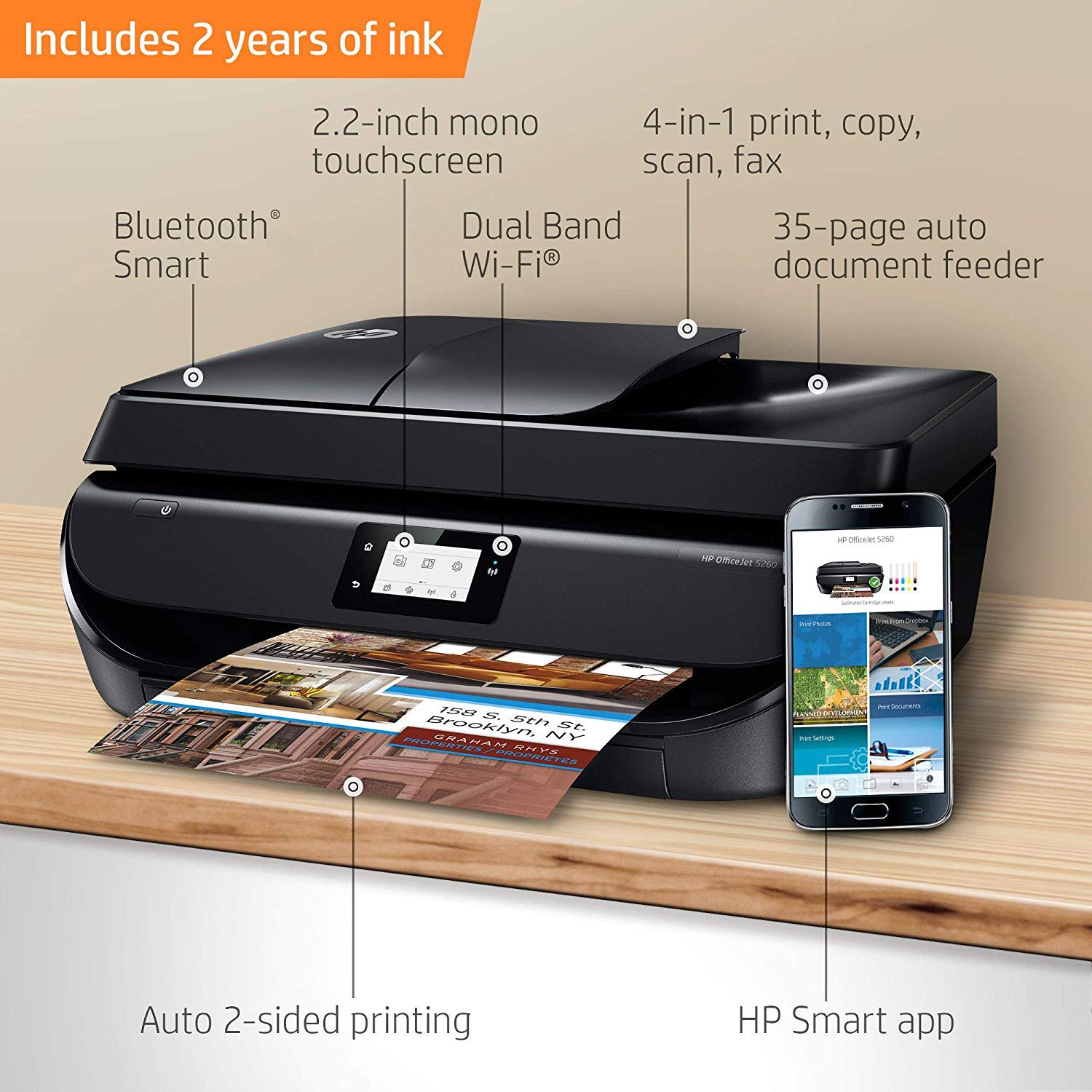 Amazon.com: HP OfficeJet 5260 Impresora inalámbrica todo en ...