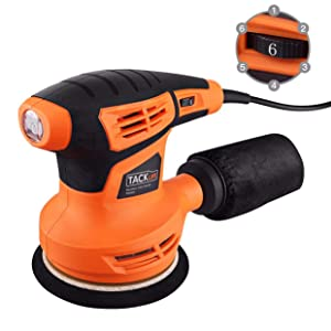 TACKLIFE 5-Inch Classic Random Orbit Sander,13,000RPM, 6 Variable Speed, Hook and Loop Orbital Sander, Efficient Dust Collection System for DIY - PRS02A