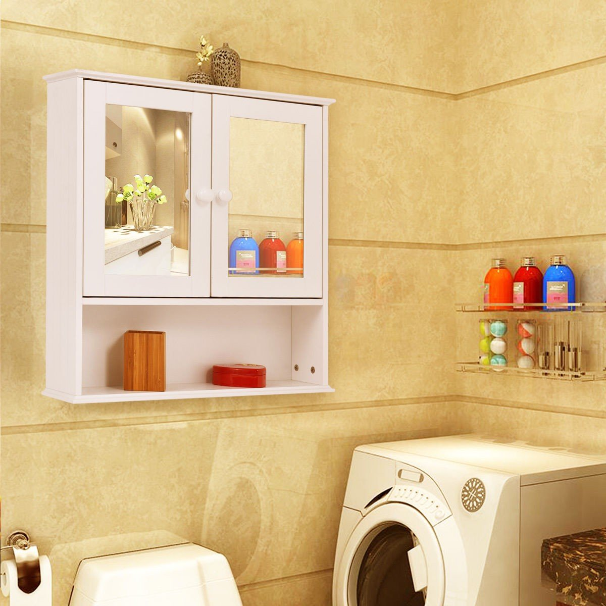 Amazon.com: Bathroom Wall Cabinet with Double Mirror Doors - By ...