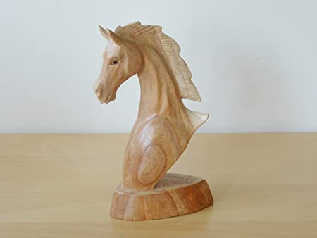 Hand Carved Wooden Horse Head Bust Handmade Wood Carving Ornament Statue